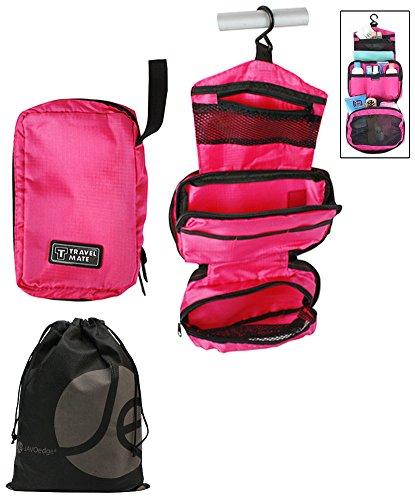 Hanging Toiletry Cosmetics Organizer With Bonus Reusable Bag (Dark Pink) front-965986
