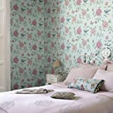 Isabelle Designer Floral Trail Wallpaper in Green and Pink Sample