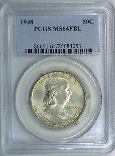 1948 No Mint Mark Franklin Half Dollar PCGS MS-64 FBL