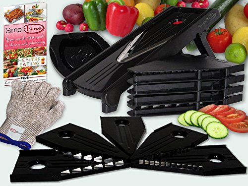 SimpliFine Mandoline Slicer and Chopper with FREE Cut Resistant Gloves. Best for Making Quick and Healthy Salads - Fruit and Vegetable Cutter - Professional Mandolin Slicer and Glove Bundle - Makes A Great Gift (Chinese Slicer compare prices)