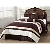 Mosaico 7-Piece Quilted Comforter Set, Burgundy, Brown, Ivory, White Bed-in-a-Bag for QUEEN Size Bedding