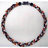 "Titanium Tornado Baseball Necklace Orange Black White 18"""