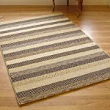 Woodstock 32743-6332 Cream, Brown & Beige Stripes Rug
