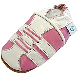 Dotty Fish Baby Girls Soft Leather Shoe with Suede Soles Pink Trainer 0-6 Months to 2-3 Years