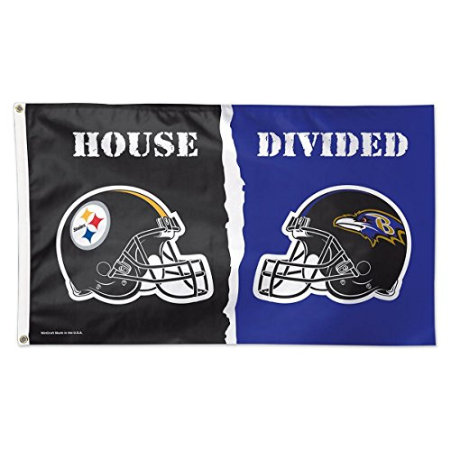 NFL Pittsburgh Steelers vs. Baltimore Ravens House Divided Deluxe Flag, 3' x 5' from SteelerMania