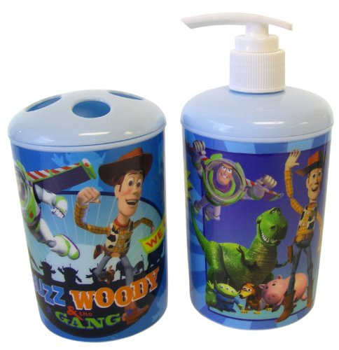 Disney Pixar 2pc Toothbrush Holder and Soap Dispenser Toy Story Bath Set - Toy Story Toothbrush Holder - Toy Story Soap Pump
