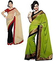 RockChin Fashions Beige-Black and Red georgette sarees