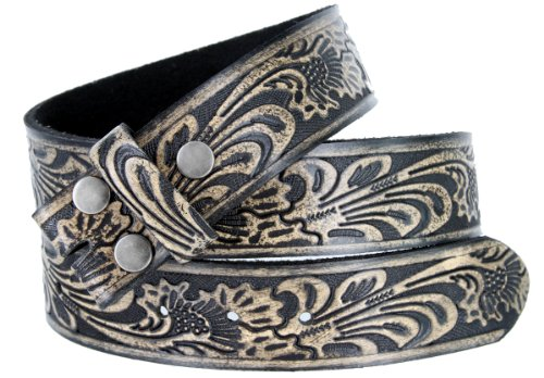 Western Embossed Tooled Black Leather Belt Strap with Snaps for Interchangeable Buckles (42)