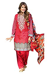 Lebaas Festival Special Fascinating Red Printed Cambric Cotton Ready to Stitch Dress Material