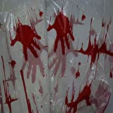 Halloween Blood Stained Tablecloth Bloody Handprint Table Cover Cloth for Halloween Parties Decorations,54'' x 108''