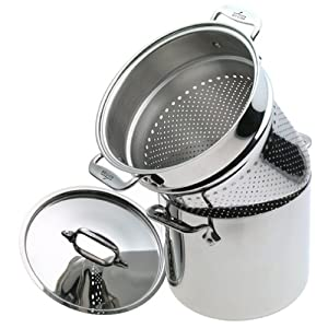 Click to buy Pasta Pot: All-Clad Stainless 7-Quart Stockpot with Pasta Insert from Amazon!