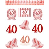 12 Piece Ruby Red 40th Anniversary Party Decorating Kit Pack .