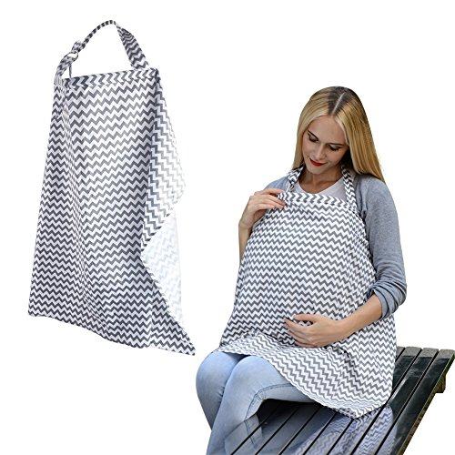 Accmor Unisex Baby Breastfeeding Cover Hooter Hider, Multi-use Wide Nursing Cover with Storage Pockets, Organic Cotton Breathable Nursing Cover For Breastfeeding, Car Seat Canopy, Shopping Cart Cover
