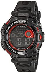 Sonata Digital (BLACK) Dial Mens Watch - 77010PP02