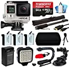 GoPro HERO4 Hero 4 Black Edition 4K Action Camera Camcorder with Premium Accesories Package includes 64GB MicroSD Card + 3x Extra Batteries with Home & Car Charger + Opteka xGrip Action Video Stabilizer + Night LED Video Light + Car Suction Cup Mount Attachment + HDMI Micro Cable + Self Selfie Stick Monopod Handle + Medium Travel Case + Mini Tripod + Dust Cleaning Care Kit (CHDHX-401)