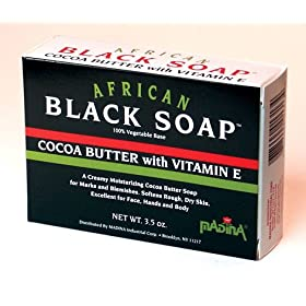 Madina African Black Soap Cocoa Butter W/Vitamin E 3.5 oz