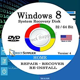 WINDOWS 8 - 64 Bit DVD SP1, Supports HOME edition. Recover, Repair, Restore or Re-install Windows to Factory Fresh!