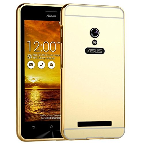 StyleMyBot Luxury Metal Bumper Acrylic Mirror Back Cover Case For Asus Zenfone 5 - Gold Plated