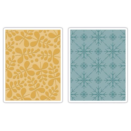 Sizzix Textured Impressions Embossing Folders 2PK - Branches & Snowflakes Set by BasicGrey (Color: Clear)