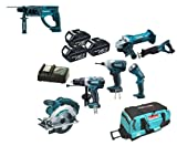Makita 18V LXT Li Ion LXT600 6 Piece Kit And BHR202 BHR202Z BHR202Rfe Sds Hammer Drill