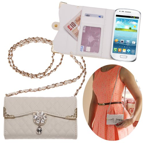 Xtra-Funky Exclusive Luxury Faux Leather Quilted Handbag Purse Style Case With Carry Strap And Beautifully Decorated Crystal Flower For Samsung Galaxy S3 Mini (I8190) - White (Includes A Mini Stylus And Lcd Screen Protector Film)