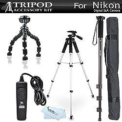 Tripod accessory Bundle Kit For Nikon Df, D5300 D5200 D3200 D3100 D5100, D7100, D600, D610 Digital SLR Camera Includes 57 Inch Pro Tripod + 67 Inch Monopod + Flexible Gripster + Remote Shutter Release (REPLACES NIKON MC-DC2 REMOTE)