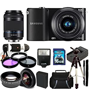Samsung NX1000 Mirrorless Wi-Fi Digital Camera Kit with 20-50mm Lens & Samsung 50-200mm f/4.0-5.6 ED OIS II Lens. Includes 0.45X Wide Angle Lens, 2X Telephoto Lens, 3 Piece Filter Kit (UV-CPL-FLD), 16GB Memory Card & Much More!