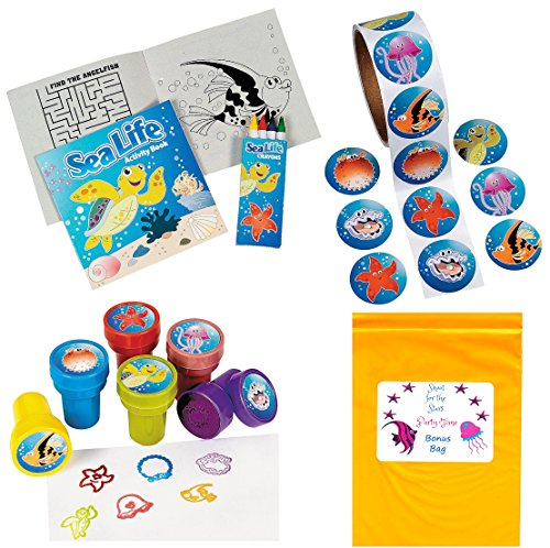 Tropical-Sea-Life-Artistic-Party-Favor-Pack-12-Activity-Books-with-Crayons-100-Sea-Life-Stickers-12-Ocean-Creature-Stampers