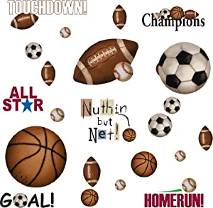 RoomMates RMK1001SCS Play Ball Peel and Stick Wall Decals by RoomMates