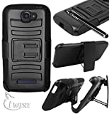 iWIRE® Black Rugged Double Layer Armor Kickstand Cover Case With Holster for Alcatel One Touch Fierce2 7040T + iWIRE® Touch Screen Pen