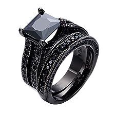 buy Junxin Jewelry Black Diamond Wedding Ring Bridal Set 7*7Mm Princess Cut Cz Size7