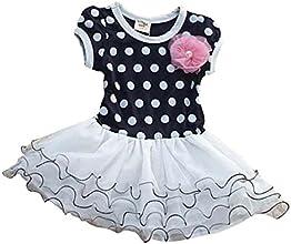 Baby Girls Short Sleeve Polka Dot Clothes Lace TuTu Dress