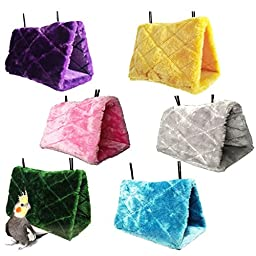 HGD@ Happy Hut Hammock Hanging Cave Cage Plush Snuggle Tent Bed Bird Parrot Toy