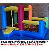"""My Bouncer Little Castle 88"""" L x 118"""" W x 72"""" H Bounce House Bopper w/ Built-in Ball Pit; Hoop & Step ( Required Minimum 500 pcs Jumbo 3"""" Balls, Large Floor Space Required !!! )"""