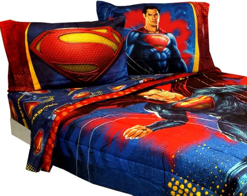 Big Save! Superman Full Bedding Set Super Steel Comforter Sheets