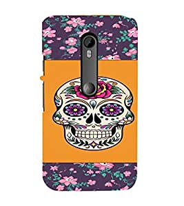 PrintVisa Girly Flower Skull Design 3D Hard Polycarbonate Designer Back Case Cover for Motorola Moto G3