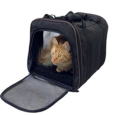 Pawfect Pet-Large Black Soft Sided Travel Pet Carrier for Dog or Cat. 100% Risk Free Purchase with Full Replacement Guarantee. Airline Approved For In Cabin Under Seat Storage.