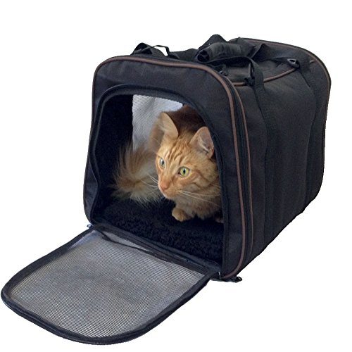 Pawfect Pet-Large Black Soft Sided Travel Pet Carrier for Dog or Cat..Airline Approved For In Cabin Under Seat Storage.100% Risk Free Purchase with Full Replacement Guarantee