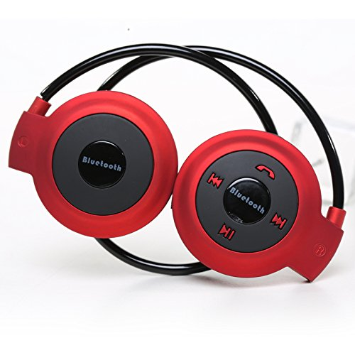 Megoodo Bluetooth Wireless Headset Sports Earphone Stereo Music F Mp3 Iphone Foldable (Red)