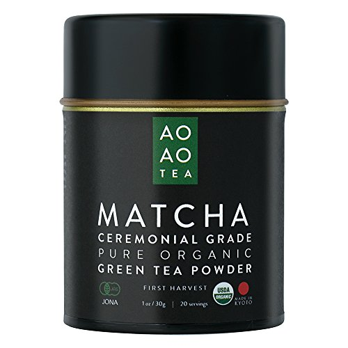 AO AO TEA Matcha Green Tea Powder Ceremonial Grade 1oz / 30g Healthy and Delicious All Natural Energy USDA Certified Organic Premium Matcha Powder Product of Japan