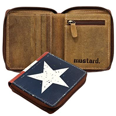 State Star & Stripes Men's Leather Zip Round Mustard Wallet