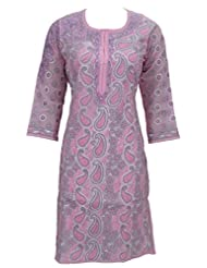 Ada Exclusive Hand Embroidered Casual Pink Cotton Lucknow Chikan Kurti For Women A67057