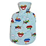 Warm Tradition AUTOS, PLANES AND TRAINS Flannel Cover for CHILD/TRAVEL SIZE Hot Water Bottle - COVER ONLY- Made in USA