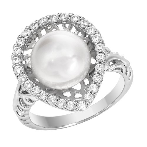 Sterling Silver White Cultured Freshwater Pearl and Cubic Zirconia Teardrop Shape Ring, Size 6