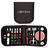 Mini Sewing Kit for Home, Travel & Emergency + Bonus Packing List - Premium Sewing Supplies, Compact Storage Case, 2x White and Black Thread