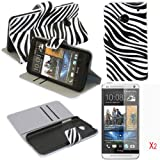 (TRAIT)3in1 Zebra-Stripe PU Leather Wallet Cases Protective Skin Protector Covers for HTC One M7 Flip Case Folio Cover Stand Holder with Card Port+2*Screen Protector