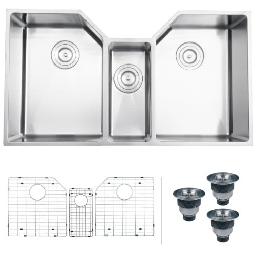 "Find Discount Ruvati RVH8500 Undermount 16 Gauge 35"" Kitchen Sink Triple Bowl, Stainless Steel"