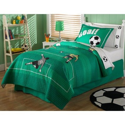 green soccer bedding