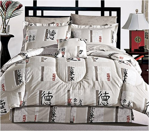 Asian Bedding & Décor - Shanghai Design Comforter, Skirt, & Shams Bed Set - ( Full, Queen, or King )
