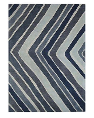 Chevron Rug, Blue/Grey, 5' x 8'